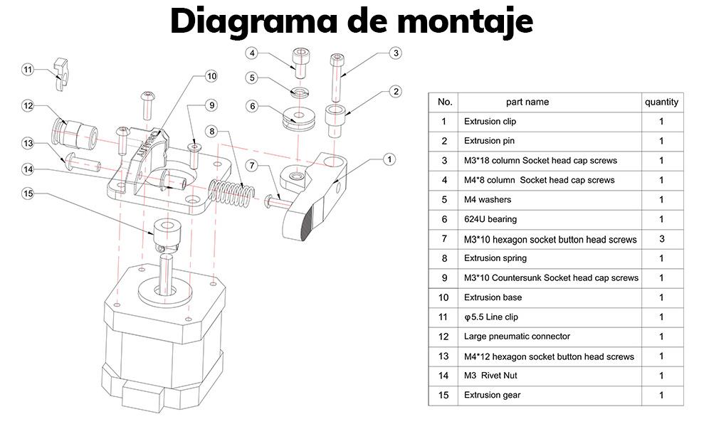 kit extrusor all metal bowden 1M capricorn Montaje