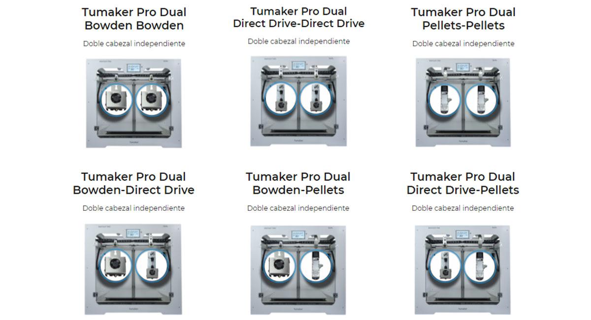 Tumaker NXPRO Dual Modelos Disponibles